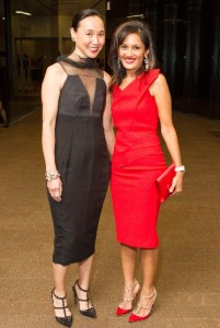 Carolyn Chang and Komal Shah (in Roland Moret) for a dinner hosted by Vogue in San Francisco, October 2013