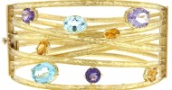 18KT Yellow gold bangle, multi-color stones with textured finish