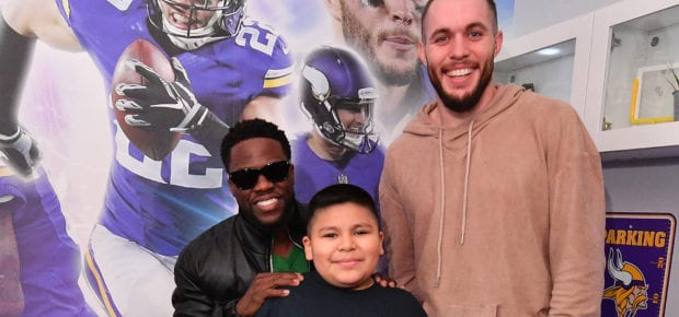 EAGAN, MN - FEBRUARY 03:  Minnesota boy battling leukemia gets a surprise visit from comedian Kevin Hart and Vikings safety Harrison Smith at the unveiling of his football-themed ìImagine Meî bedroom makeover by BrittiCares and Rally Health on February 3, 2018 in Eagan, Minnesota.  (Photo by Dia Dipasupil/Getty Images for Rally Health) *** Local Caption *** Kevin Hart; Harrison Smith